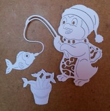 8 Tattered Lace Christmas Penguin & Bucket  Die Cuts