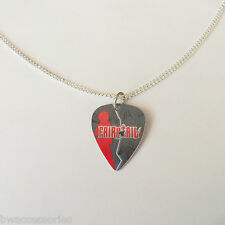 "FAIRY TAIL ANIME guitar pick plectrum silver tone 24"" curb chain NECKLACE"