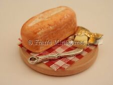 Dolls house food: White tin loaf of bread and butter board  -By Fran