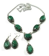 Beauteous! Natural Emerald 925 Silver Overlay Earring Necklace Set