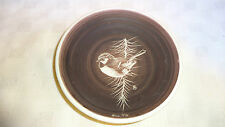 Vintage Signed Hand Made Studio Pottery Collector Plate Blue Tit Image