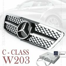 Gloss Black Front Mesh Grille AMG Style for Mercedes-Benz C Class W203 2000-06