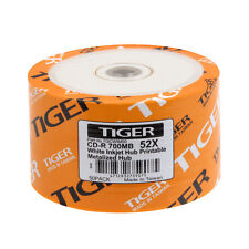 100 PCS Tiger CD-R 52X White Inkjet Hub Printable Blank CDR Disc Media 700MB