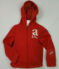 Girls A&F Abercrombie & Fitch Red Full Zip Hoodie Hoody Age 5-6 Years BNWT