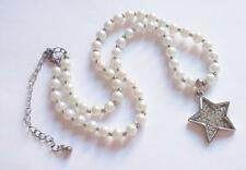 VINTAGE 80'S SILVER TONE CRYSTAL STAR PENDANT PEARL BEADS BEADED NECKLACE