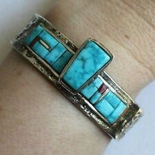 Signed Navajo SHOPTEESE Tufa Cast Turquoise Sterling Silver Mans Cuff Bracelet