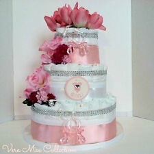 Baby Shower Gift Beautiful Pink And White Square Diaper Cake For A Baby Girl