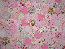 100 Tacked Hexagons in Pink Cotton Fabrics for Patchwork Projects