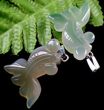 2PCS Beautiful unique green gray agate carved fish pendant bead V3812