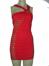 Versace  for H&M Asymmetric Top Bodycon Red Lace Mini Dress XS sz 2