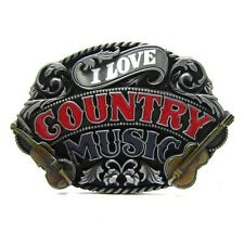I Love Country Music Guitar Belt Buckle Men Girl Vintage Western Rock Roll Dance