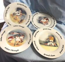 SET OF 4 ERIKA OLLER DESSERT PLATES- HOUSE OF PRILL-Schmidt- TENNIS