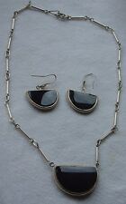 Artisan Hand Made 925 Sterling Polished Banded Black Agate Earrings Necklace Set