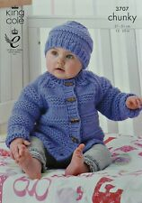 KNITTING PATTERN Baby Long Sleeve Cardigan & Hat Chunky King Cole 3707