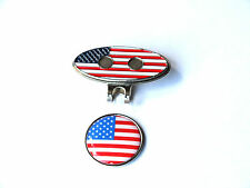 Golf Hat Cap or Visor Clip with USA Flag Magnetic Ball Marker Prize or Gift -New