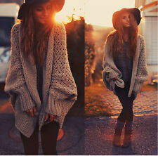 Women's Oversized Long Sleeve Knitwear Batwing Sweater Cardigan Coat Jacket