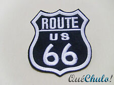 PARCHE TEXTIL BORDADO EMBROIDERY PATCH ROUTE 66 RUTA 66  8.5 x 7.5 CM