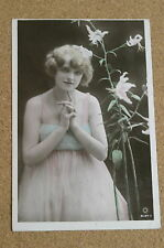 Vintage Postcard: Glamour, Fashion, Lilly Flowers, Miss Constance Worth, Rotary