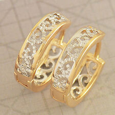 Fashion Yellow Gold Filled 2-Tone Openwork Womens Snap Closure Hoop Earring