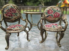 Dollhouse Miniatures ~ Ormolu Chair & Rocker w/ Vintage Petit Point & Table Set