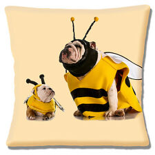 "NEW ENGLISH BULLDOG & PUP DRESSED AS BEES YELLOW BLACK 16"" Pillow Cushion Cover"