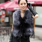 New Real Silver Fox Fur Vest Fashion Women Top Waistcoat Warm Winter Girl Gilet