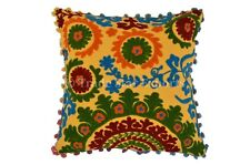 Embroidery Pom Pom Pillow Suzani Boho Throw Indian Antique Lace Cushion Cover