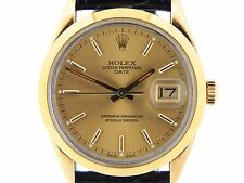 Mens Rolex 14k Yellow Gold Shell Date Watch w/Champagne Dial 15505