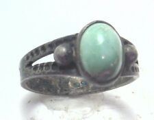 Antique Deco Vintage Sterling Silver Turquoise Blue Stone Size 3 1/2 Girl #P404