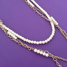 Gift idea retro necklace UK long goldtone chain &white faux pearl beads necklace