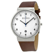 Skagen Ancher White Dial Brown Leather Mens Watch SKW6082