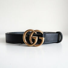 BN GUCCI 'leather belt with double g buckle' black antique gold skinny thin 75