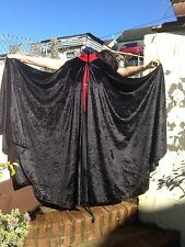 Long Full Black Crushed Velvet Cape Cloak