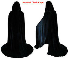 Halloween Unisex Long Velvet Black Hooded Cloak Cape Deluxe Vampire Fancy Dress