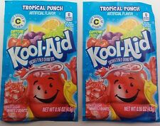2 Tropical punch Kool Aid  unsweetened drink mix packets powder WORLDWIDE SHIP