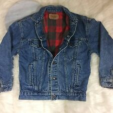 Vintage Levi's Mens Large Denium Blue Jean Flannel Lined Plaid Jacket Trucker