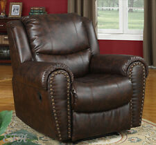 NEW CAMROSE TWO TONE ESPRESSO BROWN BYCAST LEATHER ROCKER RECLINER CHAIR