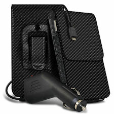 Carbon Fibre Belt Pouch Holster Case & Car Charger For Samsung Galaxy Note 2