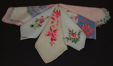 Vintage Handkerchief HANKY LOT of 6 ALL PINK Florals Embroidery ETC