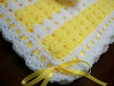 NEW Handmade Crochet Baby Blanket Afghan ( White Yellow ) Newborn