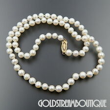 JAPANESE AKOYA WHITE CULTURED PEARL 6-6.5 mm NECKLACE WITH 14KT YELL GOLD CLASP