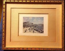 Rare Hand Painted Picture on Silk Gilt Frame 1890's Street Scene Antique Vintage