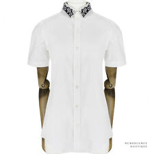 Julien David Off White Embroided Collar Pintuck Short-Sleeve Shirt Blouse M UK10