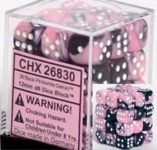 Chessex Dice Gemini Black Pink w/ White d6 Sets 36 12mm Six Sided Die CHX 26830