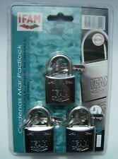 3pcs IFAM 30mm KEYED ALIKE MARINE PADLOCKS IN SINGLE BLISTER PACK.