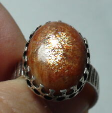 NATURAL SUNSTONE 12.0CT RING 925 SILVER,Vintage Estate Jewelry,Size 8.75