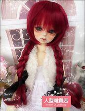 BJD muñeca peluca de pelo 7-8 pulgadas 18-20cm Vino Rojo 1/4 MSD DOD STUI Trenza Dz