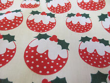 Ivory with Christmas Pudding Printed Polycotton Fabric