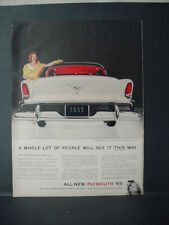 1955 Plymouth Belvedere Sport Coupe 6 or V-8 Car Vintage Print Ad 11388