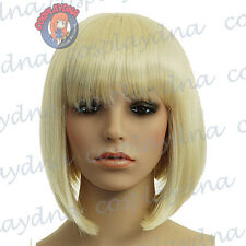 12 inch Hi_Temp Light Golden Blonde  A-Line Bob Short Cosplay DNA Wigs 91LGB